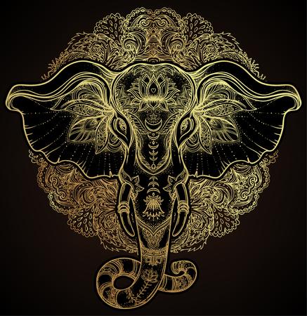 Beautiful hand-drawn tribal style elephant over mandala. Colorful design with boho pattern, psychedelic ornaments. Ethnic poster, spiritual art, yoga. Indian god Ganesha, Indian symbol. T-shirt print. Vector Illustration