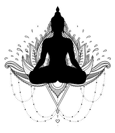 Vector ornamentele Lotus bloem met silhouet van Boeddha, etnische kunst, Indiase paisley. Hand getekende illustratie. Uitnodigingselement. Tattoo, spiritualiteit, boho, magisch symbool. Kleurboek voor volwassenen.