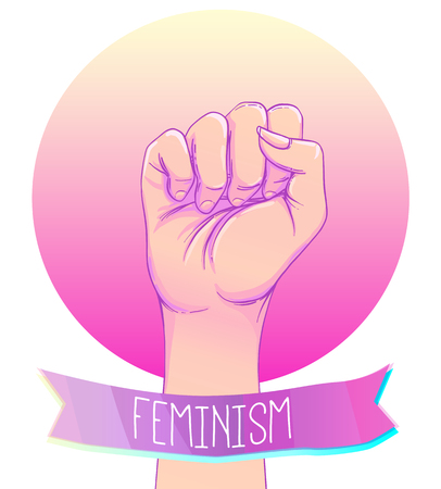 gothic style: Womans hand with her fist raised up. Girl Power. Feminism concept. Realistic style vector illustration in pink pastel goth colors isolated on white. Sticker, patch graphic design. Illustration