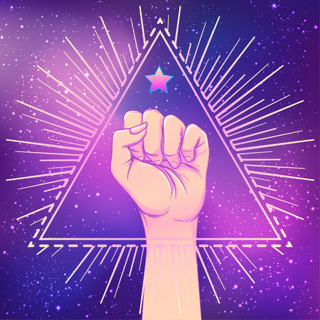 Human hand raised up over triangle shape with rays. Symbol of fighting, Revolution, protest, riot. Masonic sign. Fight like a girl. Woman power. Vector illustration.