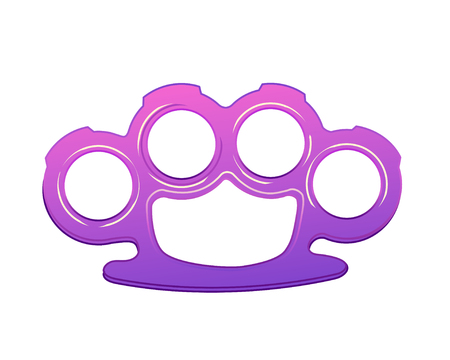 agressive: Fight like a girl. Purple brass knuckles icon in cartoon style isolated on white background