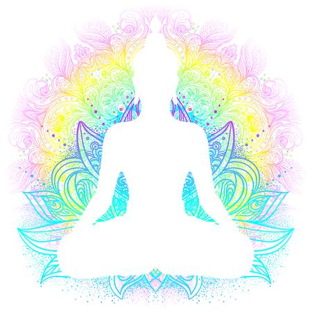 Sitting Buddha silhouette. Vintage decorative vector illustration. Hand drawn mandala. Mehenidi ornate decorative style. Yoga studio, Indian, Buddhism, Esoteric motifs. Tattoo, yoga, spirituality.