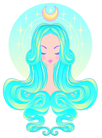 Cute teen girl with closed eyes and long hair. Mix of art nouveau and kawaii gothic style. Hipster, pastel goth, vibrant colors isolated. Vector illustration. Sticker, patch, poster graphic design.  Illustration