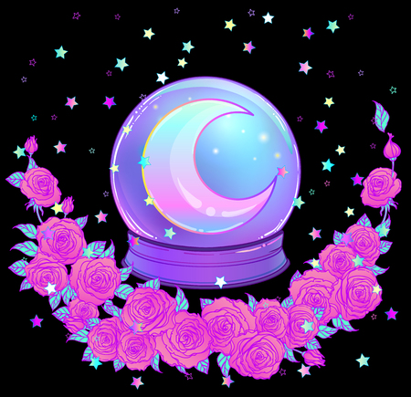 Crystal Ball with with rainbow moon and colorful stars isolated on white. Creepy cute vector illustration. Gothic design, mystic magic symbol, pastel colors. Future telling, Halloween concept.