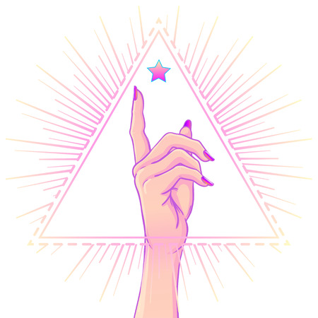 Female hand showing pointing finger over triangle with rays. Realistic style vector illustration in pink pastel goth colors. Sticker, patch, poster graphic design.