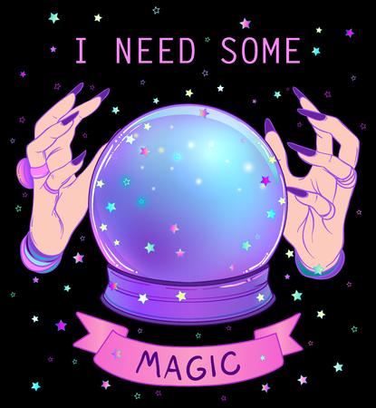 紫の女性エイリアンと水晶玉はグラデーション メッシュ背景に引き渡します。不気味かわいいベクター イラストです。ゴシック デザイン、神秘的