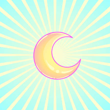 Crescent moon over abstract ray burst background. Vector illustration. Illustration