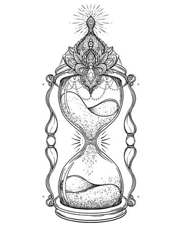 Reloj De Arena Antiguo Decorativo Con Ilustración Rosas Aislado En ...