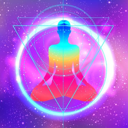 Sagoma umana meditando o facendo yoga. Cielo notturno galassia Priorità bassa astratta di geometria sacra. Buon design per la stampa di t-shirt in tessuto, sfondo colorato poster. Luce interna.