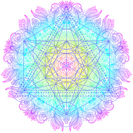 Decoratief mandala rond patroon met heilig meetkunde-element Metatron Cube, krachtig symbool, Flower of Life. Alchemie, filosofie, spiritualiteit. Ontwerp muziekomslag, t-shirt, poster, flyer. Astrologie.