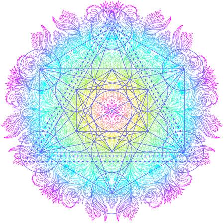 Decorativo patrón redondo mandala con elemento de geometría sagrada Metatron Cube, poderoso símbolo, Flor de la Vida. Alquimia, filosofía, espiritualidad. Cubierta de la música del diseño, camiseta, cartel, aviador. Astrología.