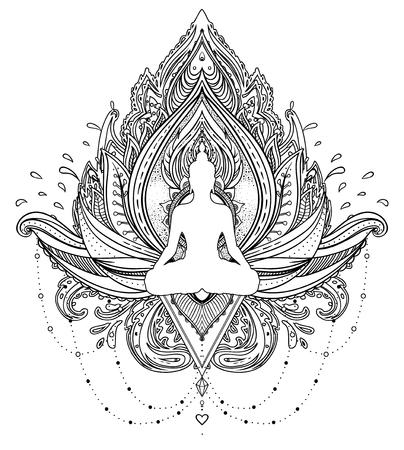 Vector ornamental flor de loto con la silueta de Buda, el arte étnico, paisley india. Ilustración dibujada a mano. Elemento de la invitación. Tatuaje, espiritualidad, boho, símbolo mágico. Libro para colorear para adultos.