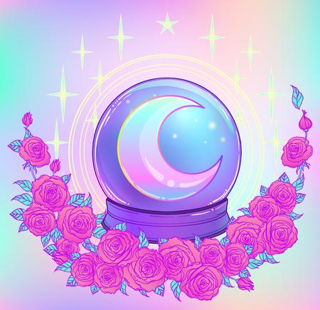 Kristallen bol met met regenboogmaan en kleurrijke sterren die op wit worden geïsoleerd. Griezelig schattig vectorillustratie. Gotisch ontwerp, mysticus magisch symbool, pastelkleuren. Toekomstig vertellen, Halloween-concept.