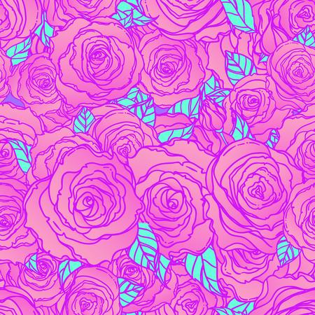 深い青色の背景に赤いバラ。シームレスなエレガントなヴィンテージ花柄。布、繊維、包装紙、壁紙、結婚式のコンセプトを設計します。レトロな  イラスト・ベクター素材