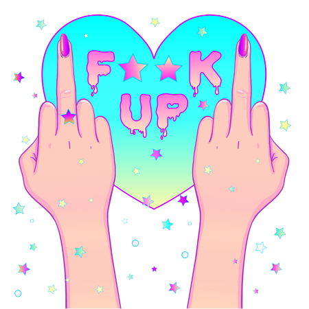 insulting: Female hand showing middle finger over f-word. Feminism concept. Realistic style vector illustration in pink pastel goth colors isolated on white. Sticker, patch, poster graphic design.