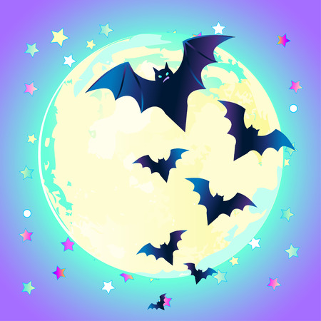 gothic style: Halloween vector illustration: creepy cute vector bat flying against full moon in neon pastel colors. Retro gothic style. Colorful rainbow concept.