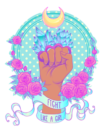 gothic style: Fight like a girl. Womans hand with crystal quartz brass knuckles. Fist raised up. Girl Power. Feminism concept. Realistic vector illustration in pastel goth colors.