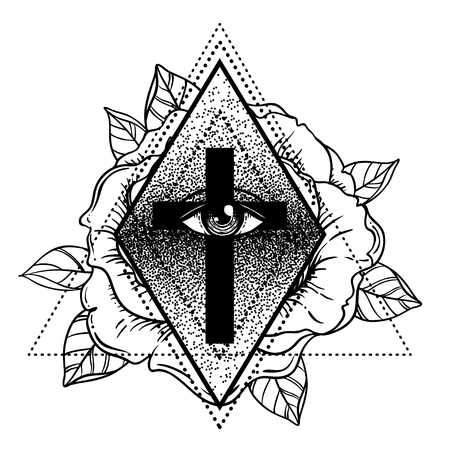Rosicrucianism symbol. Blackwork tattoo flash. All seeing eye, Cristian cross with rose flower. Sacred geometry. Vector illustration isolated on white. Tattoo design, mystic symbol. New World Order.