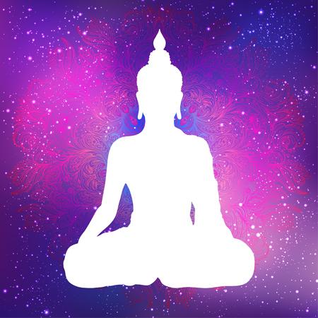 Silhouette blanche de Bouddha assis avec espace et étoiles à l'extérieur. Illustration vectorielle. Composition vintage. Indien, Bouddhisme, Spirituel. Tatouage, yoga, spiritualité