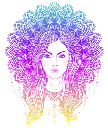 トライバルフュー ジョン自由奔放に生きる歌姫。華やかな曼荼羅状ハローとネイティブ アメリカン インディアン羽飾りインスピレーションの神美