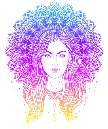 Tribal Fusion Boho Diva. Beautiful divine girl with ornate mandala-shaped halo, native American Indian feather headdress inspired. Adult anti-stress coloring book page. Hand drawn illustration. Illustration
