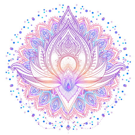 Mandala. Beautiful vintage round pattern. Vector illustration. Psychedelic neon composition. Indian, Buddhism, Spiritual Tattoo, yoga, spirituality. Sticker, patch, poster graphic design.