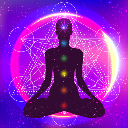 Human silhouette meditating or doing yoga. Night galaxy sky. Sacred geometry abstract background. Good design for textile t-shirt print, colorful poster background. Inner light. Vettoriali