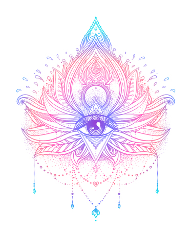 Vector ornamental Lotus flower, all-seeing eye, patterned Indian paisley. Hand drawn illustration. Invitation element. Tattoo, astrology, alchemy, boho and magic symbol. Vibrant gradient over white.