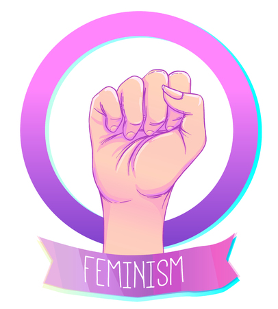 Womans hand with her fist raised up. Girl Power. Feminism concept. Realistic style vector illustration in pink pastel goth colors isolated on white. Sticker, patch graphic design. Illustration