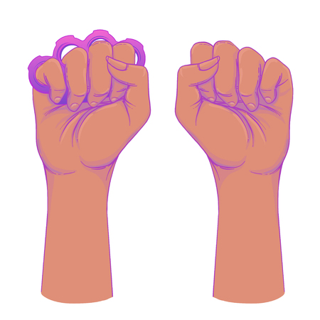 African American Woman's hand with her fist raised up. Girl Power. Feminism, anti-racism concept. Realistic style vector illustration in pink on white. Sticker, patch graphic design.