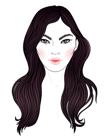 long hair model: Young Asian woman with  long hair. Fashion vector illustration isolated on white. Can be used as a face chart or for hairdressers Skincare, professional hairdressing, beauty salon concept.