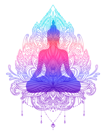 Sitting Buddha silhouette over ornamental Lotus flower. Esoteric vector illustration. Vintage decorative, Indian, Buddhism, spiritual art. Hippie tattoo, spirituality, Thai god, yoga zen.