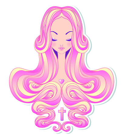 gothic style: Cute teen girl with closed eyes and long hair. Mix of art nouveau and kawaii gothic style. Hipster, pastel goth, vibrant colors isolated. Vector illustration. Sticker, patch, poster graphic design.  Illustration