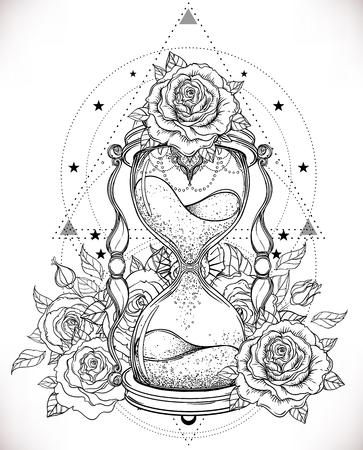 Decoratieve antieke zandloper met rozenillustratie die op wit wordt geïsoleerd. Hand getrokken vector kunst. Schets voor dotwork tattoo, hipster t-shirt design, vintage stijl posters. Kleurboek voor volwassenen.