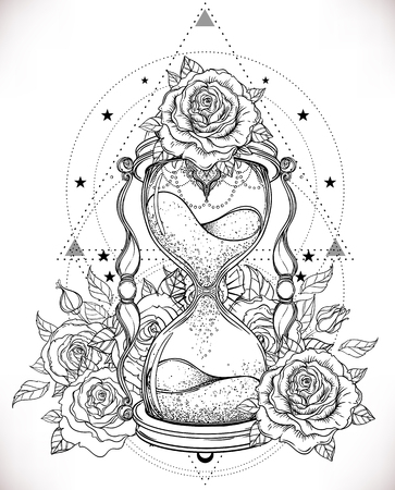 Decorative antique hourglass with roses illustration isolated on white. Hand drawn vector art. Sketch for dotwork tattoo, hipster t-shirt design, vintage style posters. Coloring book for adults.