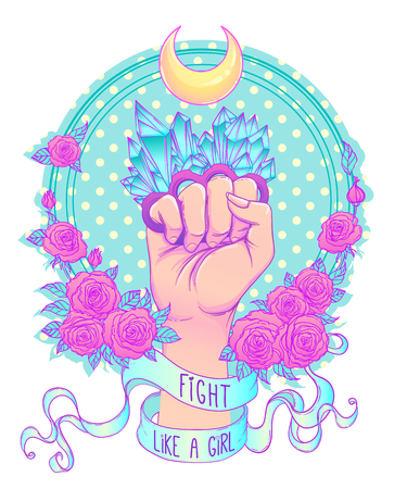 Fight like a girl. Woman's hand with crystal quartz brass knuckles. Fist raised up. Girl Power. Feminism concept. Realistic vector illustration in pastel goth colors. Иллюстрация