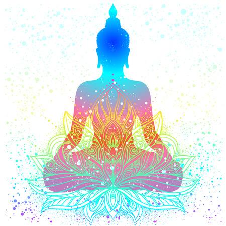 kundalini: Sitting Buddha silhouette. Vintage decorative vector illustration. Hand drawn mandala. Mehenidi ornate decorative style. Yoga studio, Indian, Buddhism, Esoteric motifs. Tattoo, yoga, spirituality.