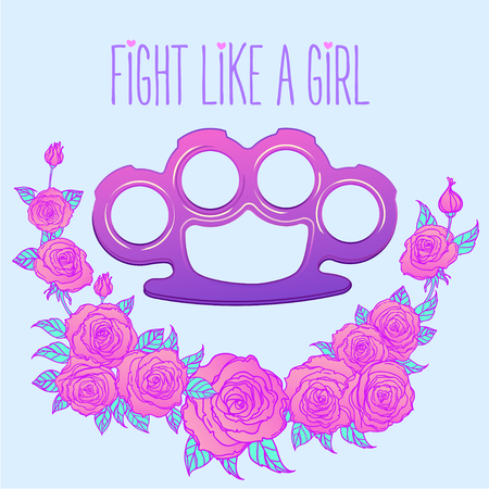 Fight like a girl. Purple brass knuckles icon in cartoon style isolated on white background