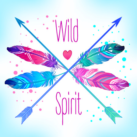 Hand drawn vector wreath with painted bird feathers and arrows isolated on white background. Colorful set for your design. Trendy boho style patterned elements, sketch, tribal template.