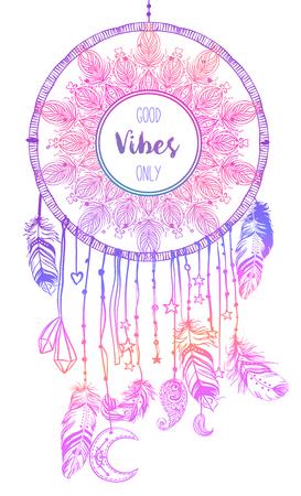 talisman: Dibujado a mano Native American Indian talismán dreamcatcher con plumas y la luna. Vector hipster colorido gradiente ilustración aislado en negro. Diseño étnico, elegancia del boho, símbolo tribal. Vectores