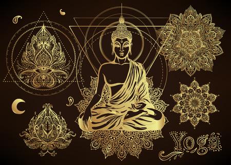 Yoga, ensemble d'illustration vectorielle de méditation. Motifs de Paisley Hindou. Bouddha, spiritualité, estampes, éléments floraux ornementaux avec dessin au henné, autocollants dorés, tatouages ??flash instantanés, cartes et tirages. Banque d'images - 79135075