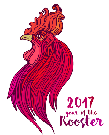Rooster, Chinese zodiac symbol of the 2017 year. Colorful vector illustration isolated on white. Zentangle inspired. Head of cock in red colors. Design for t-shirt print, greeting card, calendar. Illustration