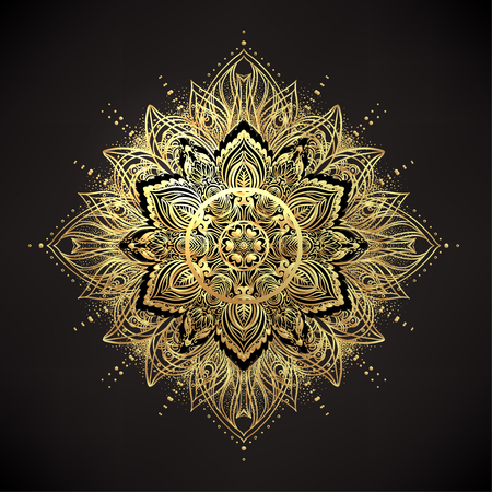 temporary: Vector ornamental Lotus flower, ethnic art, patterned Indian paisley. Hand drawn illustration isolated. Invitation. Golden stickers, flash temporary tattoo, mehndi and yoga design, boho, magic symbol.