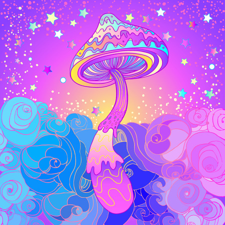 Magic mushrooms. Psychedelic hallucination. Vibrant vector illustration. 60s hippie colorful art. Ilustrace