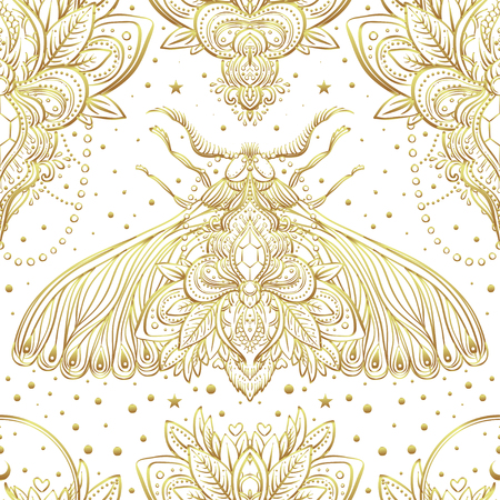 Gold and white decorative vector pattern with a moth isolated on white. Golden stickers, flash temporary tattoo. Nature, spirituality, occultism, alchemy, magic . Wallpaper, wrapping.