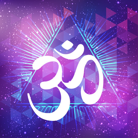 dharma: Hand drawn Ohm symbol, Indian Diwali spiritual sign Om over abstract cosmic background with stars. Vector illustration. Hinduism, Spiritual tattoo, yoga, spirituality. Sticker, patch, poster design.