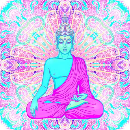 mantra: Sitting Buddha over sacred geometry background. Vector illustration. Psychedelic neon composition. Indian, Buddhism, Spiritual Tattoo, yoga, spirituality. Sticker, patch, poster graphic design.