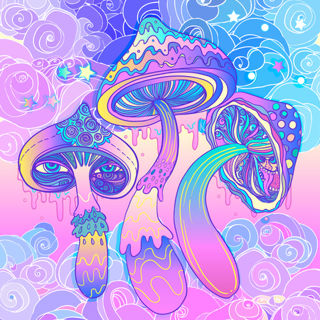 Magic mushrooms. Psychedelic hallucination. Vibrant vector illustration. 60s hippie colorful art. Illusztráció