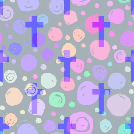 gothic style: Vanilla cross.Spooky seamless pattern. Halloween wrapping paper background in neon pastel colors. Cute gothic style. Colorful rainbow dots. Illustration