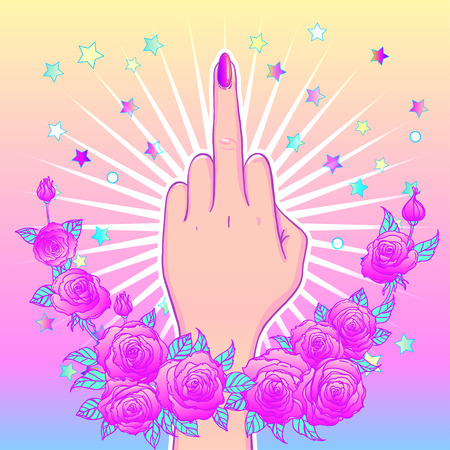 Female hand showing middle finger. Feminism concept, vector illustration in pink pastel goth colors over star and roses flowers. Sticker, patch, poster graphic design.